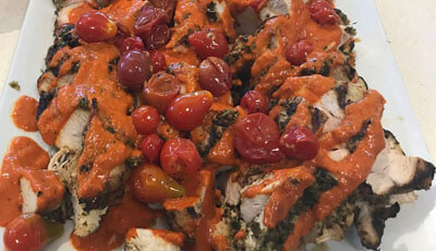 Chimichurri Marinated Chicken with Smoked Red Pepper Sauce